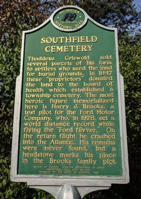 Southfield Cemetery Marker image. Click for full size.