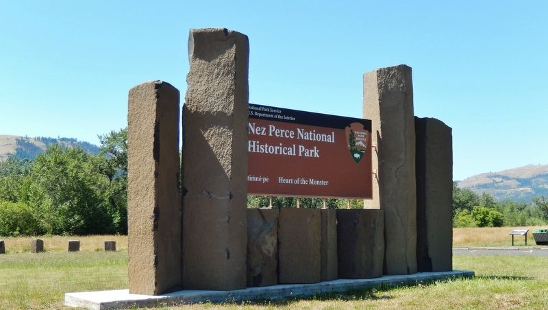 Nez Perce National Historical Park sign at site entrance image. Click for full size.