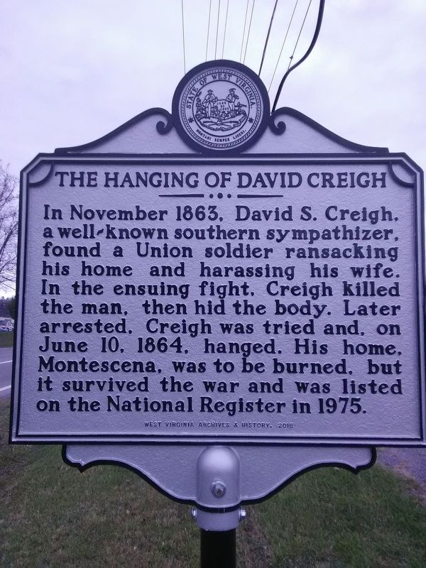 The hanging of David Creigh Marker image. Click for full size.