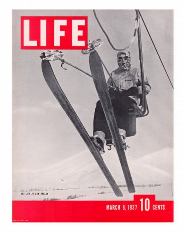 Skier Riding the Chair Lift at Sun Valley Ski Resort, March 8, 1937 image. Click for full size.