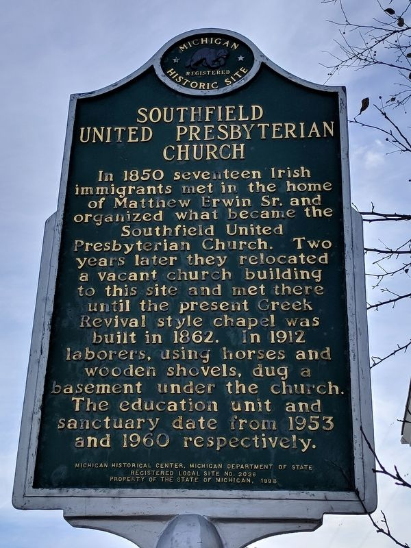 Southfield United Presbyterian Church Marker image. Click for full size.