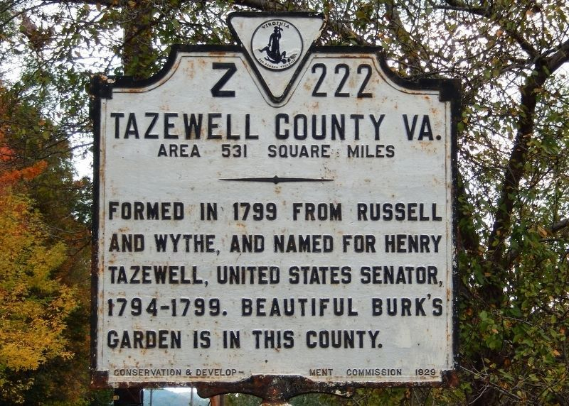 Tazewell County VA (side facing north into West Virginia, seen approaching Virgina line from north) image. Click for full size.