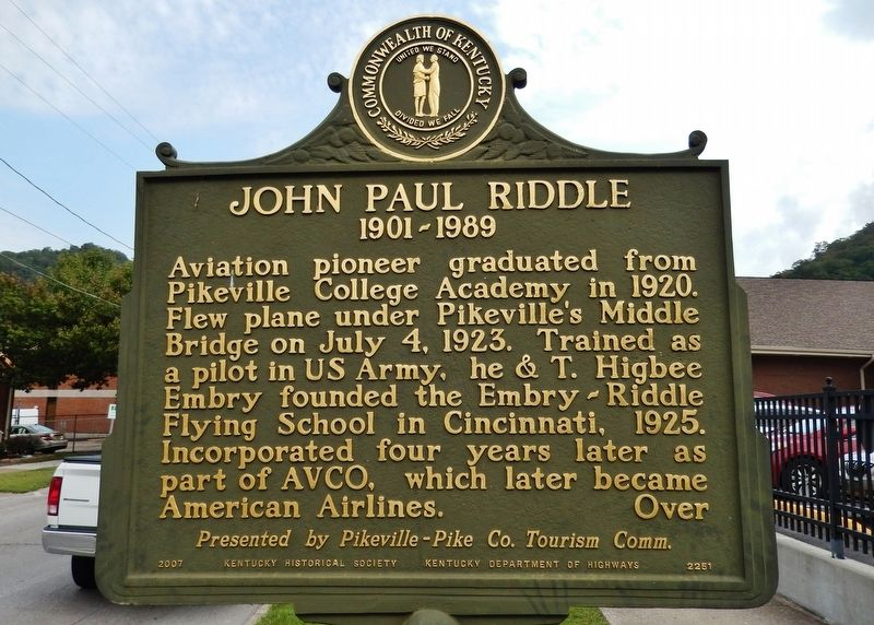 John Paul Riddle Marker (<i>side 1</i>) image. Click for full size.