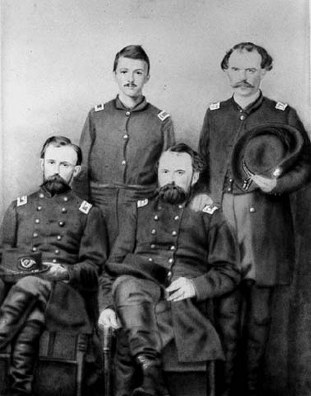 Lucius Frederick Hubbard (front left) with members of the 5th Minnesota Regiment in 1862. image. Click for full size.