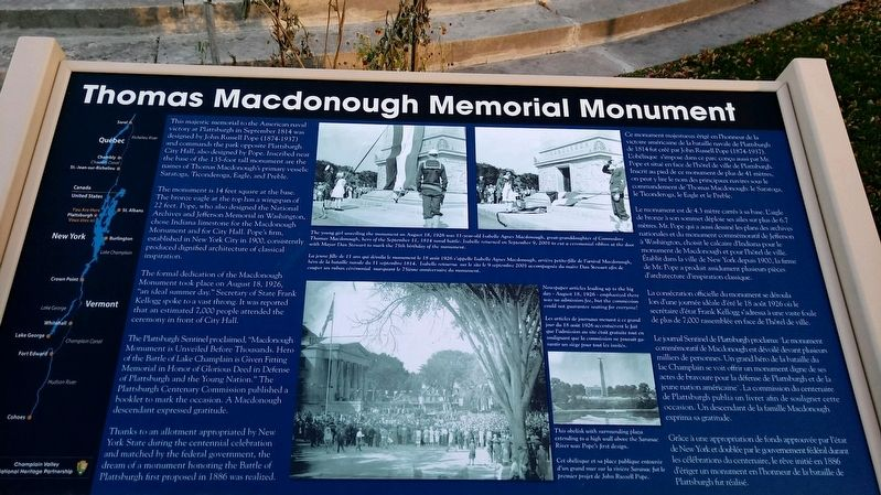 Thomas Macdonough Memorial Monument Marker image. Click for full size.