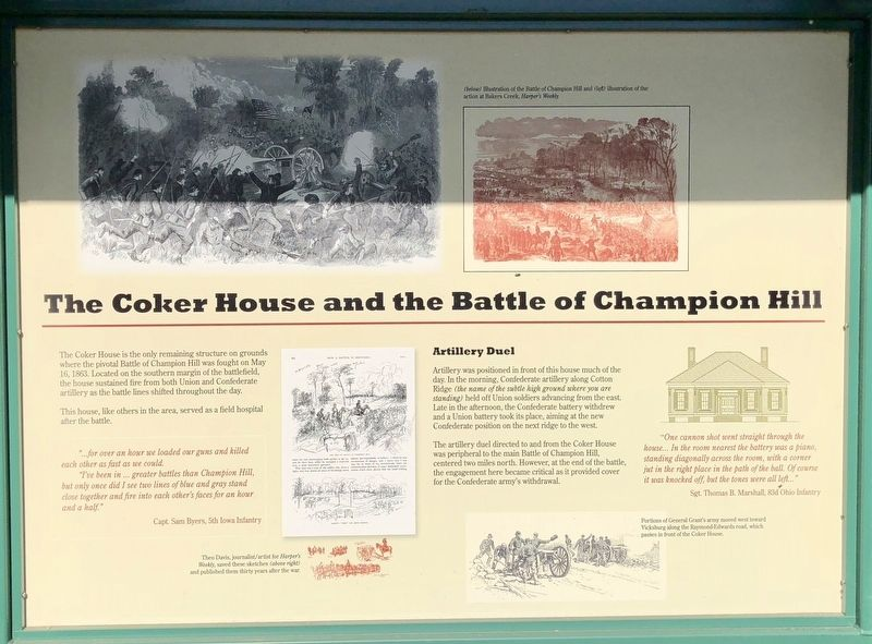 The Coker House and the Battle of Champion Hill Marker image. Click for full size.