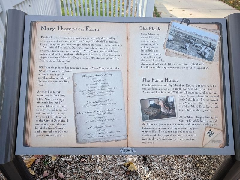 Mary Thompson Farm Marker image. Click for full size.