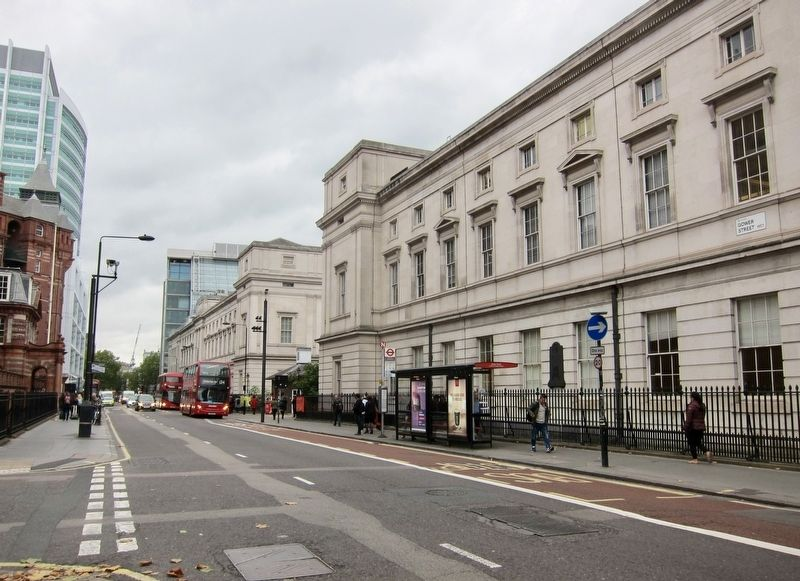 Richard Trevithick Marker - Wide View, Looking North on Gower Street image. Click for full size.