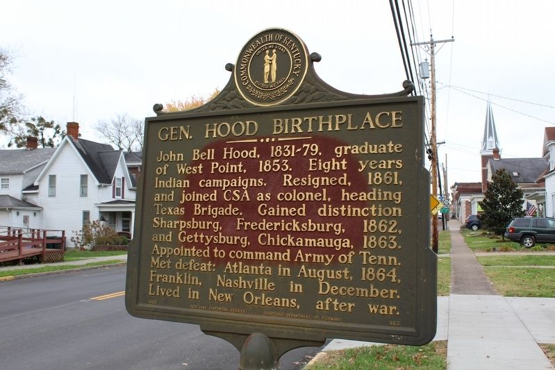 Gen. Hood Birthplace Marker image. Click for full size.
