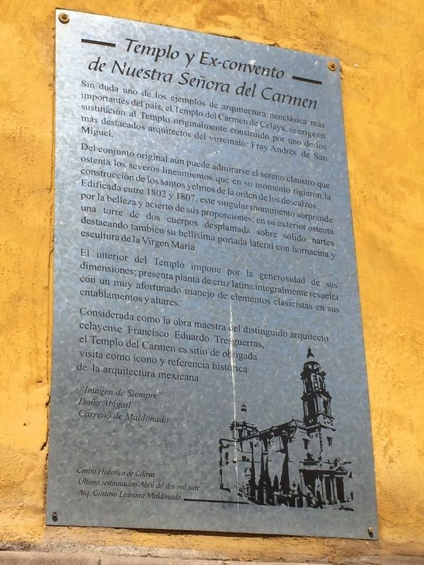 The Temple and Ex-convent of Our Lady of Carmen Marker image. Click for full size.