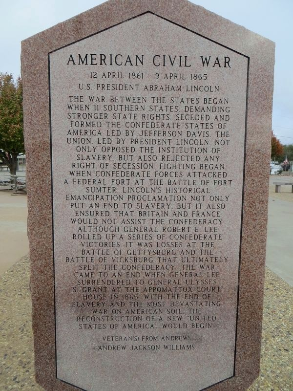 American Civil War - Andrews County Veterans Memorial image. Click for full size.