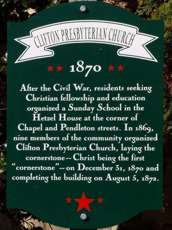 Clifton Presbyterian Church Marker image. Click for full size.