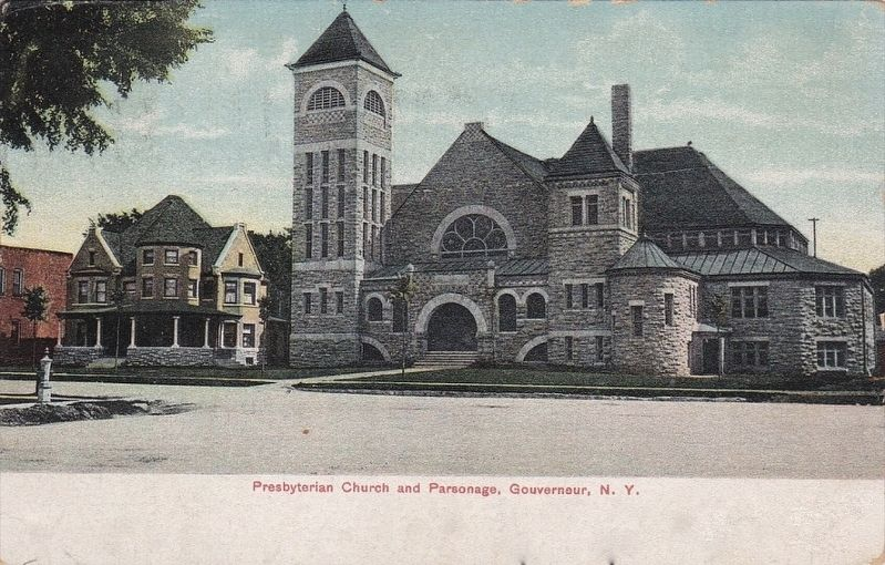 <i>Presbyterian Church and Parsonage, Gouverneur, N.Y.</i> image. Click for full size.