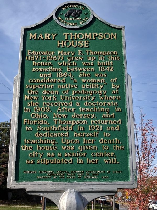 Mary Thompson House Marker image. Click for full size.