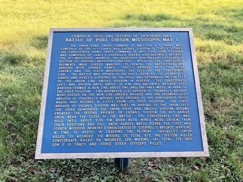 Battle of Port Gibson, Mississippi, May 1. Marker image. Click for full size.