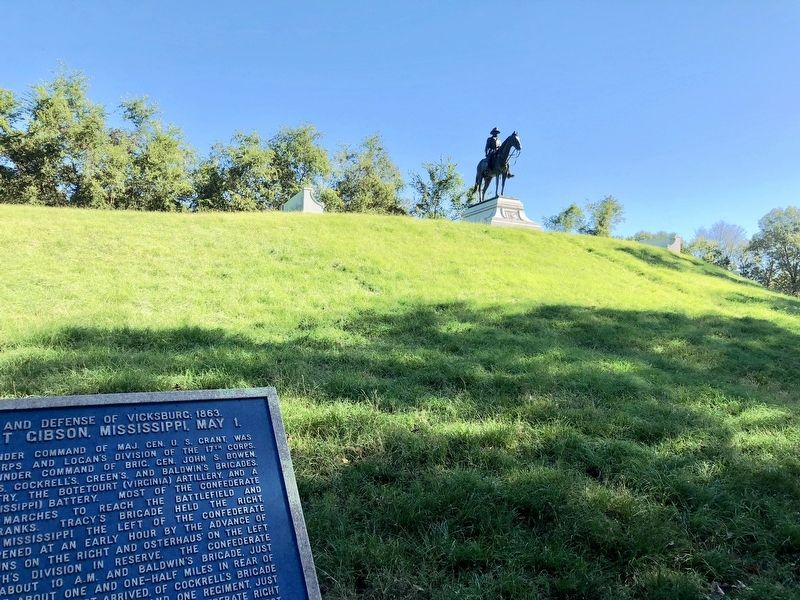 Marker located below the statue of General U.S. Grant. image. Click for full size.