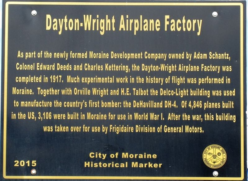 Dayton-Wright Airplane Factory Marker image. Click for full size.