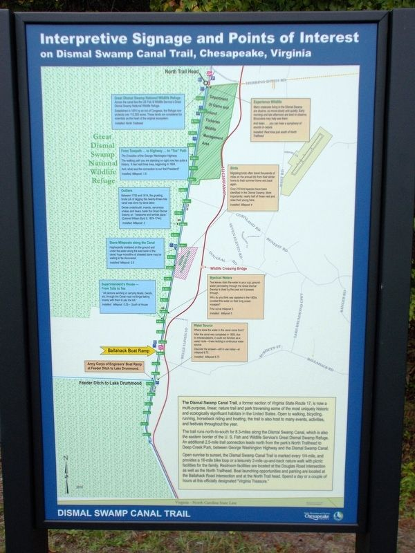 Dismal Swamp Canal Trail Marker image. Click for full size.