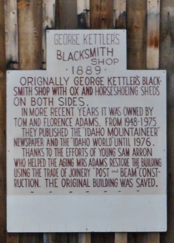 George Kettler's Blacksmith Shop Marker image. Click for full size.