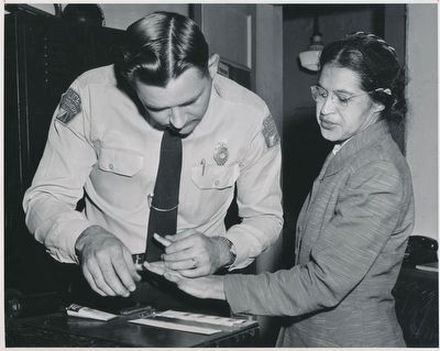 Rosa Parks Being Fingerprinted Again in 1956 image. Click for full size.
