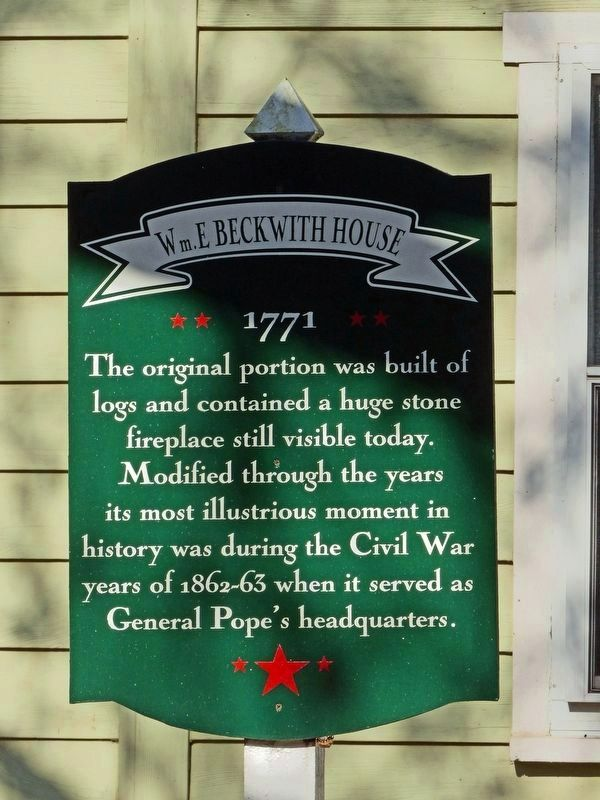 Wm. E. Beckwith House Marker image. Click for full size.