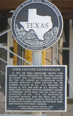 Lynn County Courthouse Marker image. Click for full size.
