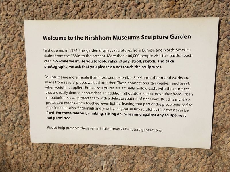 Welcome to the Hirshhorn Museum's Sculpture Garden Marker image. Click for full size.