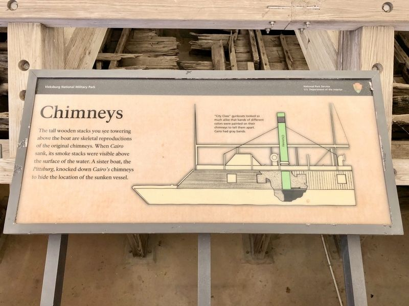 Chimneys - USS Cairo Marker image. Click for full size.