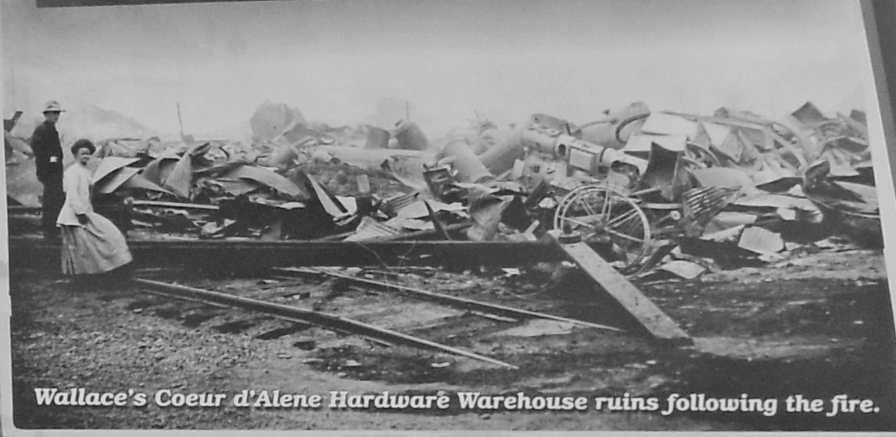 Marker detail: Coeur d'Alene Hardware Warehouse ruins image. Click for full size.