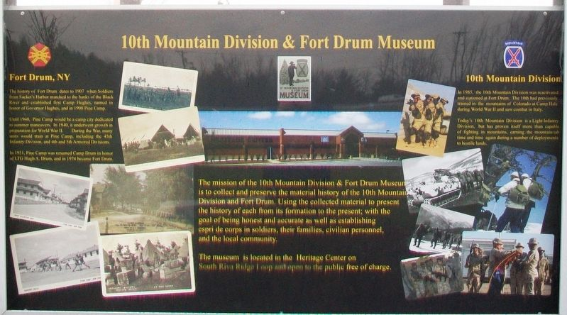 10th Mountain Division & Fort Drum Museum Marker image. Click for full size.