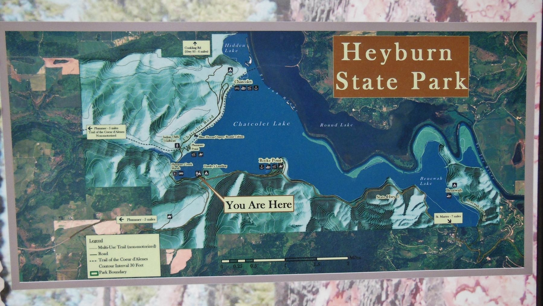 Heyburn State Park Map image. Click for full size.