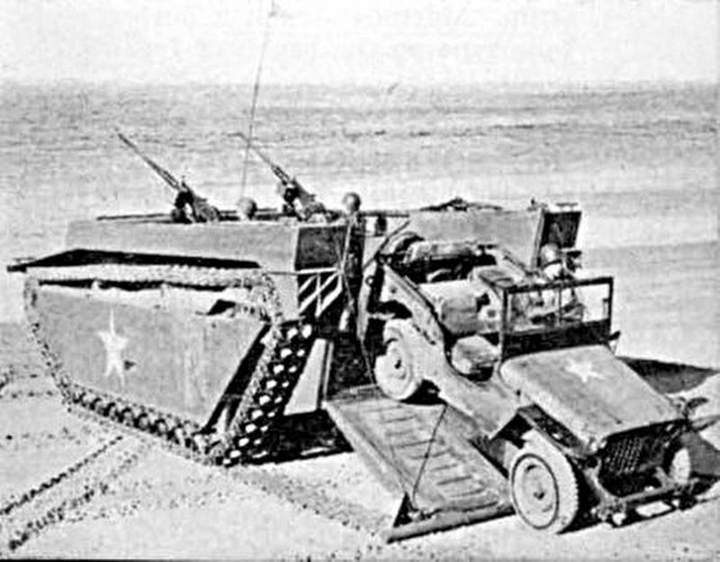 LVT unloading a Jeep image. Click for full size.