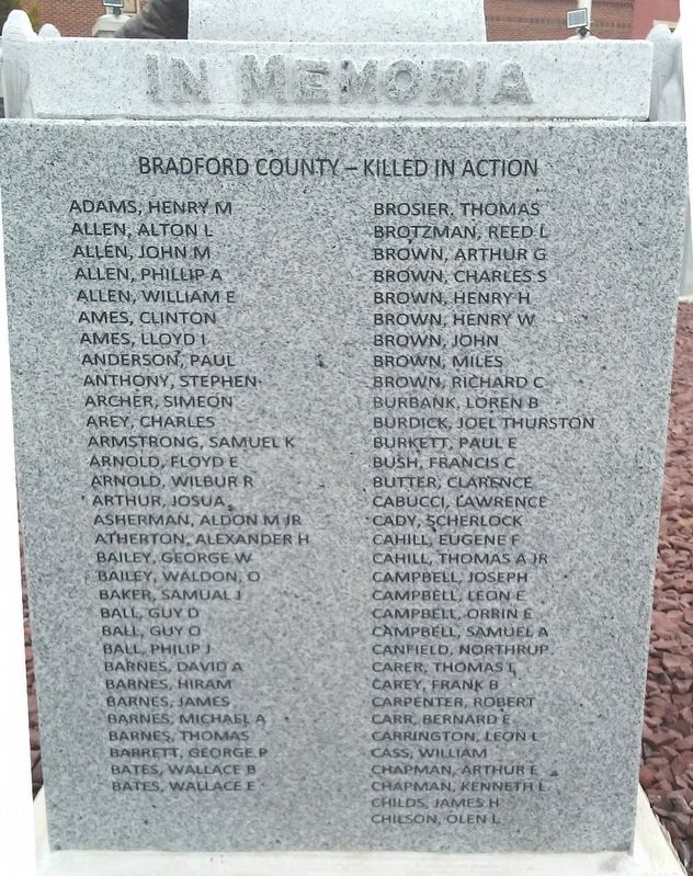 Bradford County Roll of Honored Dead image. Click for full size.