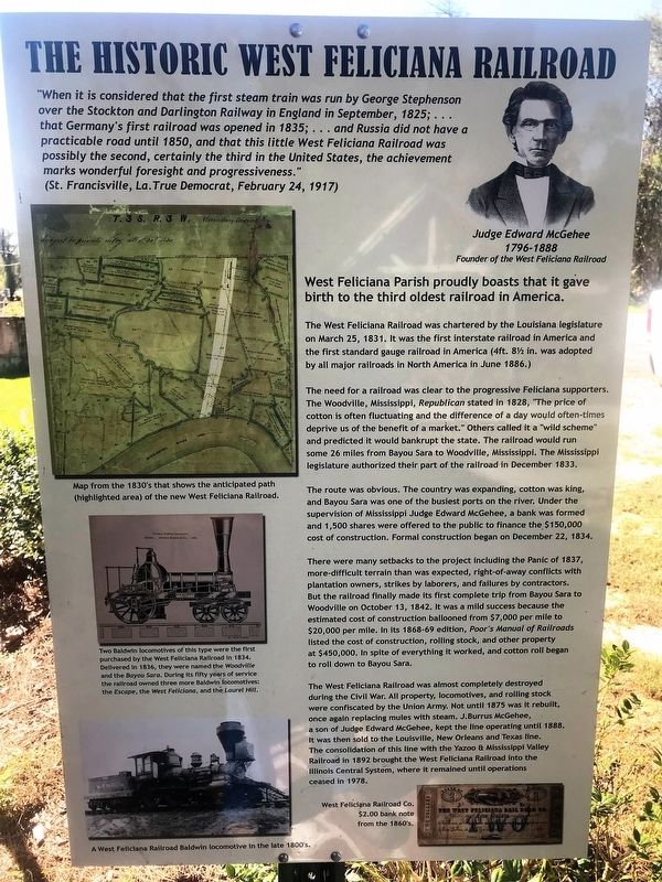The Historic West Feliciana Railroad Marker image. Click for full size.