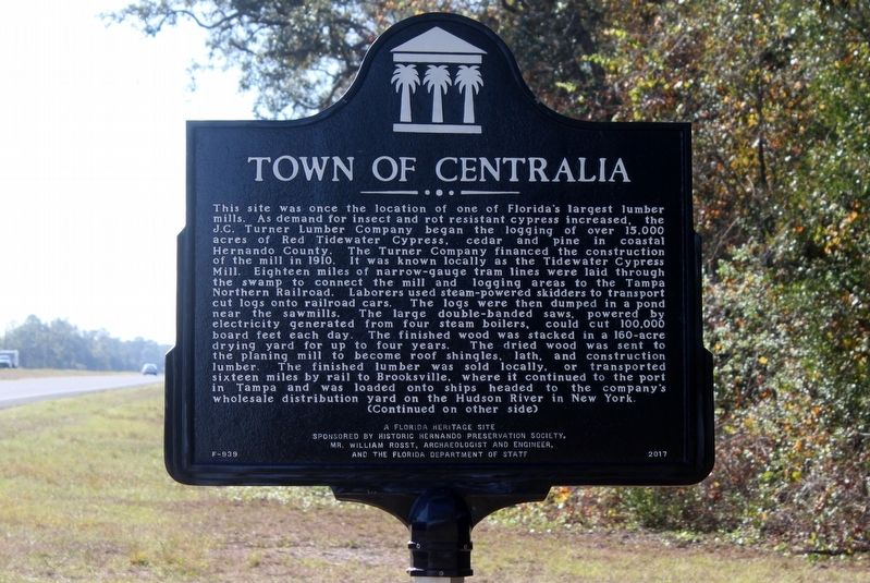 Town of Centralia Marker Side 1 image. Click for full size.