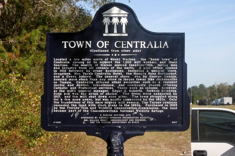 Town of Centralia Marker Side 2 image. Click for full size.