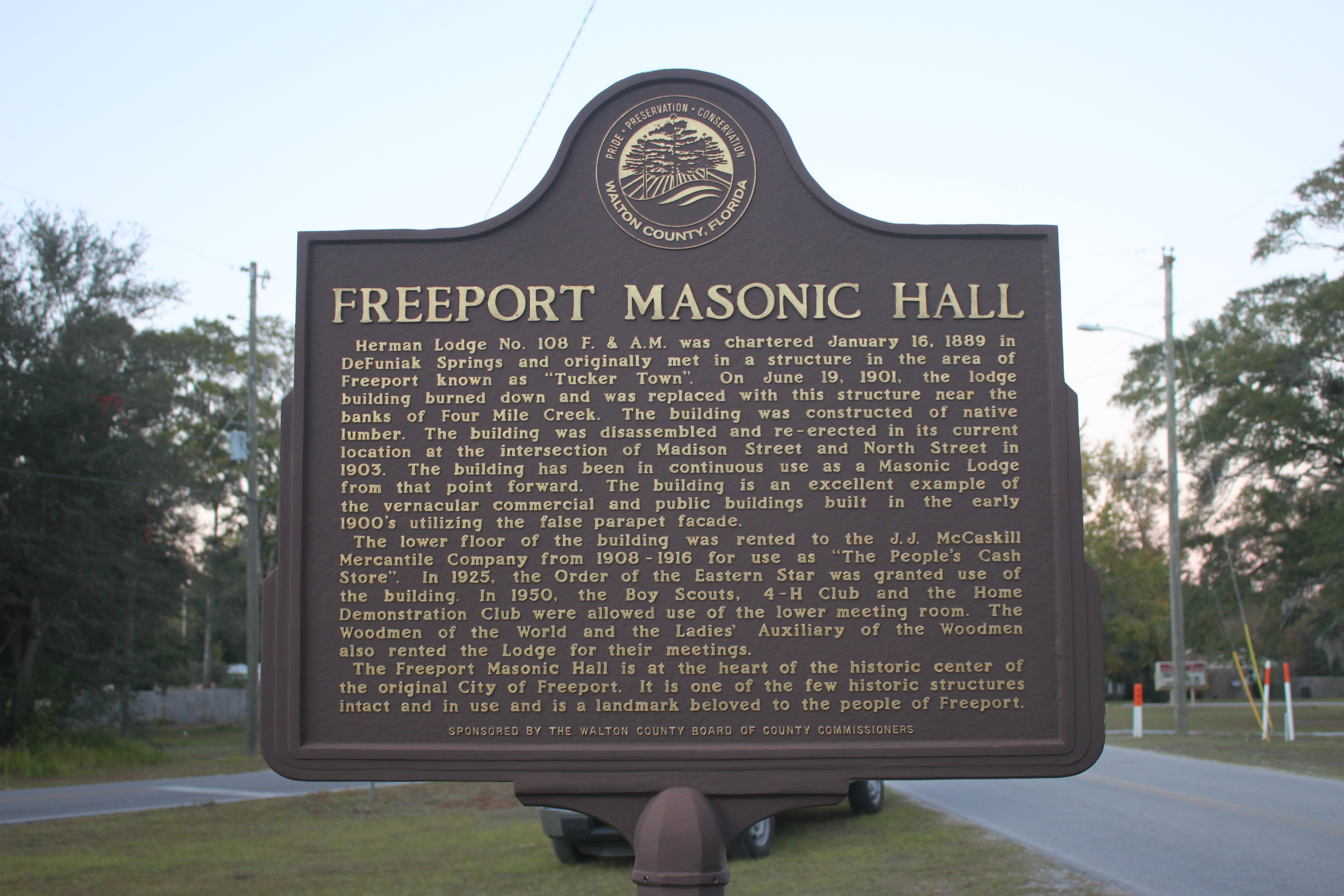 Freeport Masonic Hall Marker