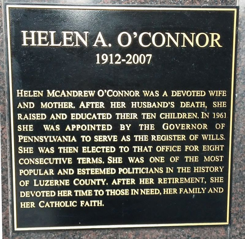 Parents Corner Helen A. O'Connor Marker image. Click for full size.