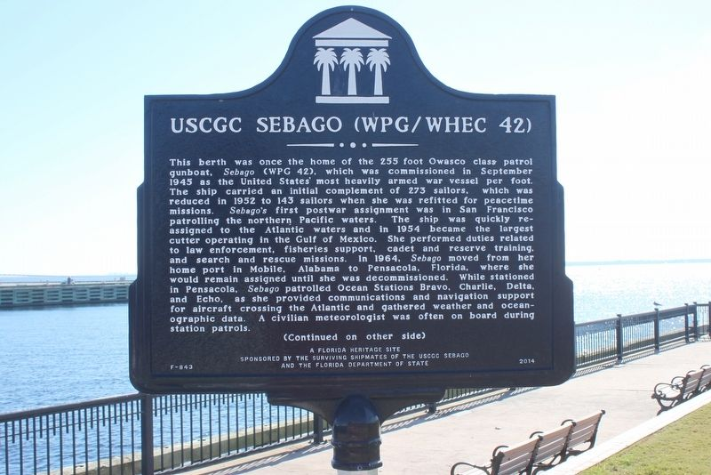 USCGC Sebago (WPG/WHEC 42) Marker Side 1 image. Click for full size.
