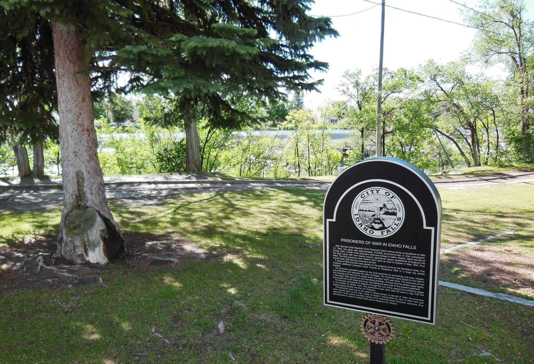 Prisoners of War in Idaho Falls Marker (<i>wide view showing adjacent riverwalk</i>) image. Click for full size.