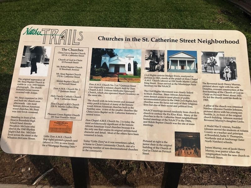 Churches in the St. Catherine Street Neighborhood Marker image. Click for full size.