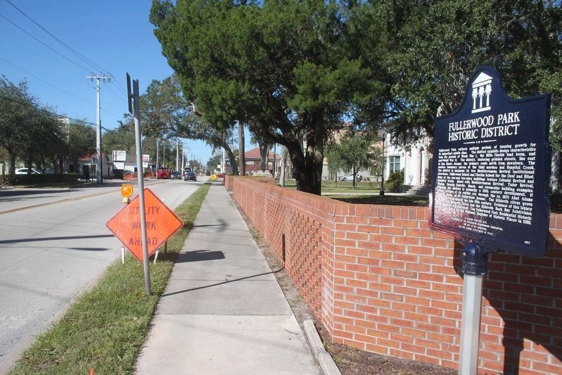Fullerwood Park Historic District Marker looking north on San Marco Ave. image. Click for full size.