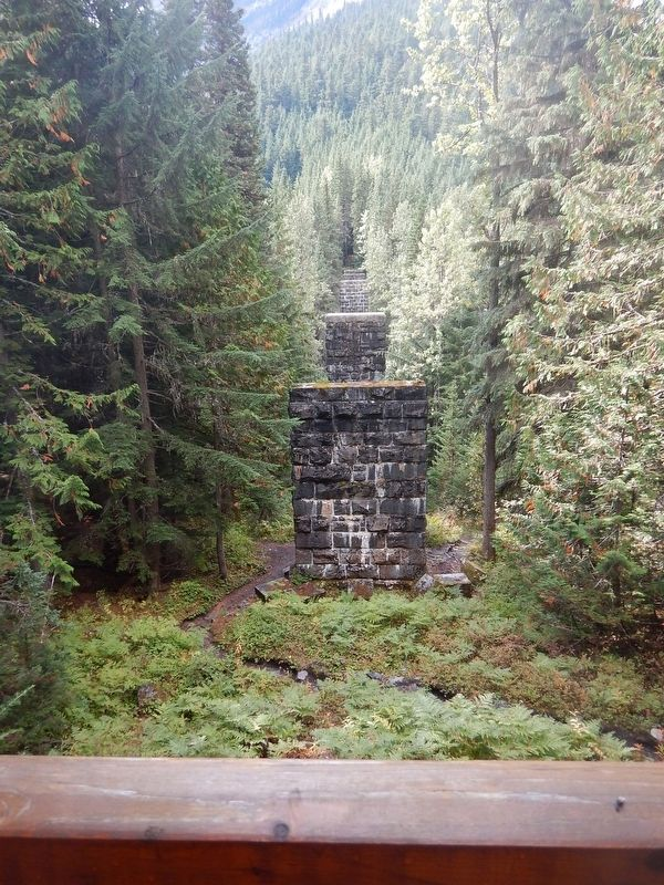 Stone pillars that used to support the Loops trestle image. Click for full size.