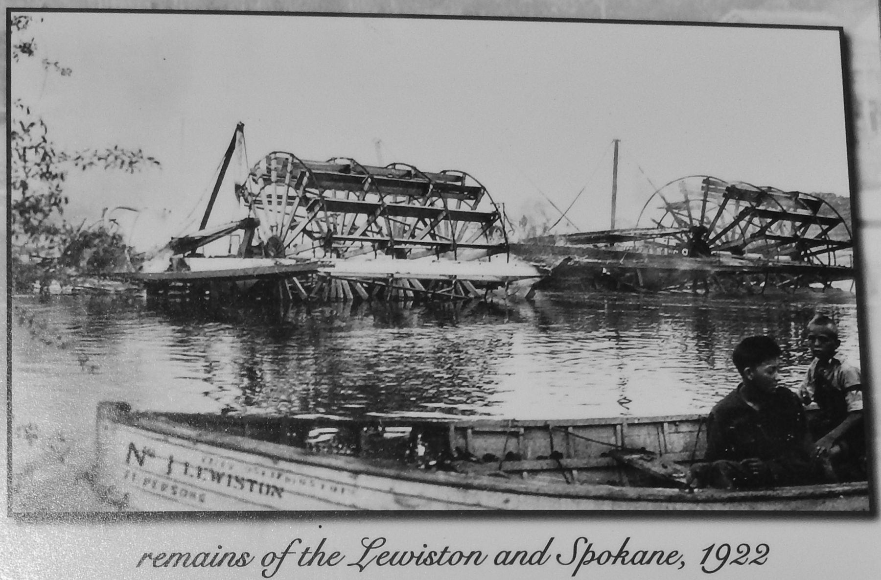 Marker detail: Remains of the Lewiston and Spokane, 1922 image. Click for full size.