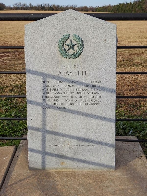 Site of Lafayette Texas Historical Marker image. Click for full size.