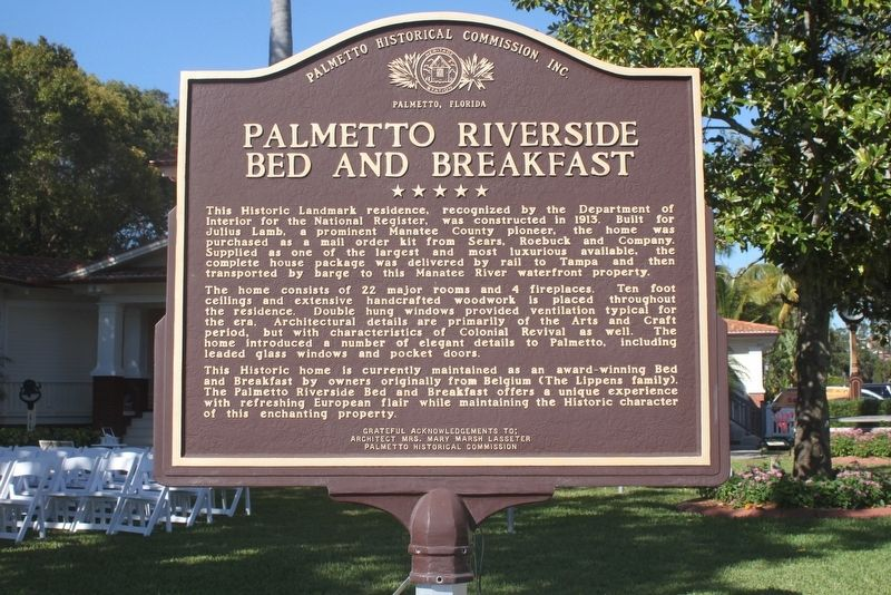 Palmetto Riverside Bed and Breakfast Marker image. Click for full size.