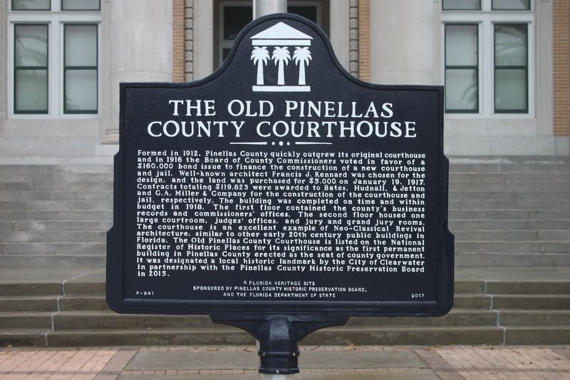 The Old Pinellas County Courthouse Marker image. Click for full size.