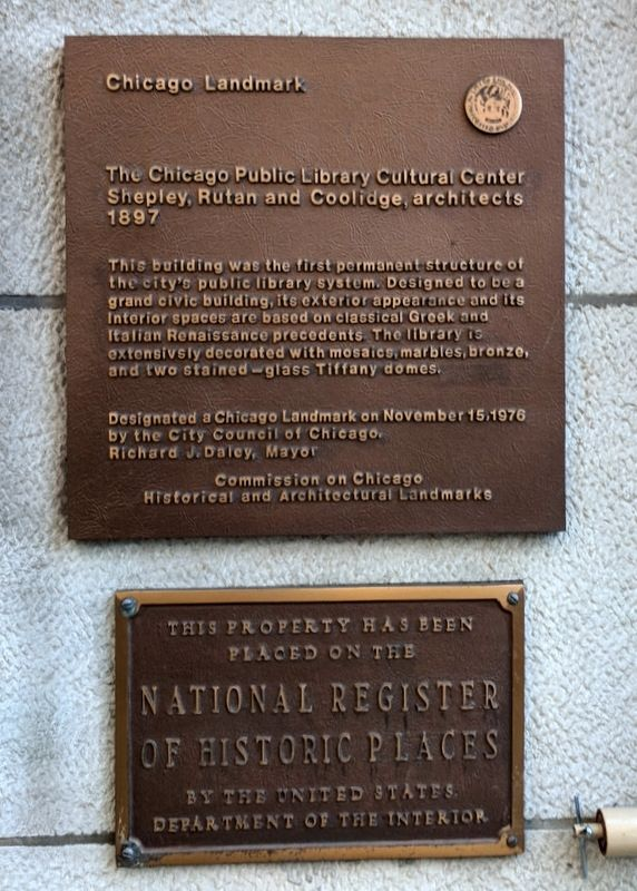 The Chicago Public Library Cultural Center Marker image. Click for full size.