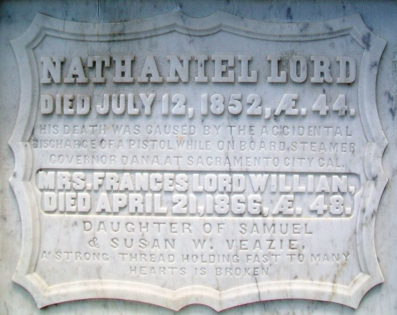Nathaniel Lord Grave Marker image. Click for full size.