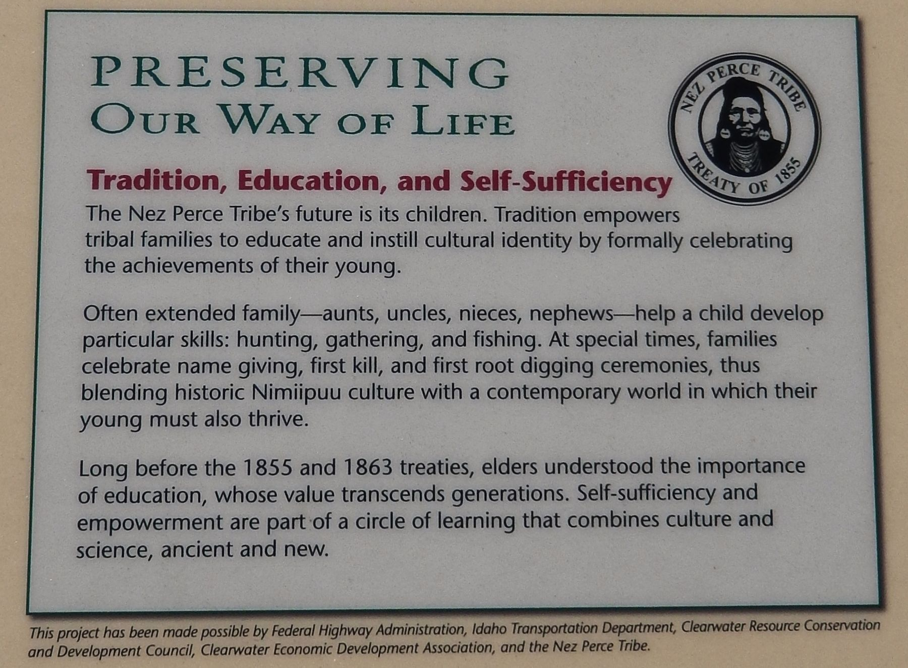 Marker detail: Preserving the Nez Perce Way of Life image. Click for full size.